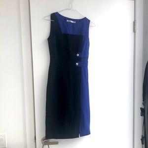 Karen Millen Black Blue Fitted Dress Front Slit